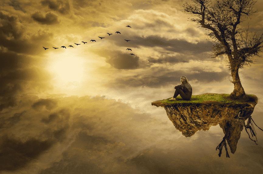 Zauberer buchen München - Eine Frau schwebt auf einer Insel der Sonne entgegen